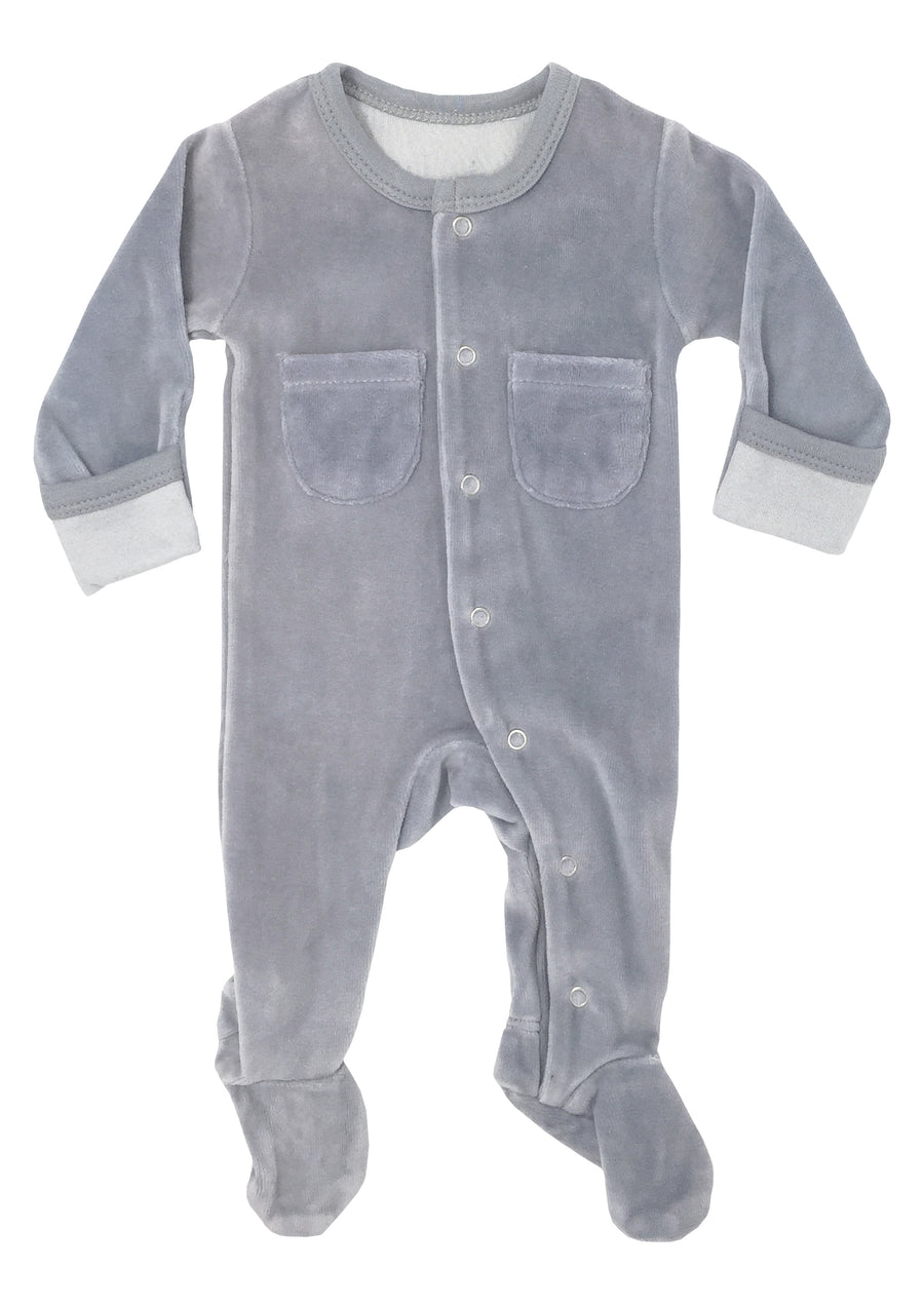 L'ovedbaby Organic Cotton Footie - Velour Light Gray