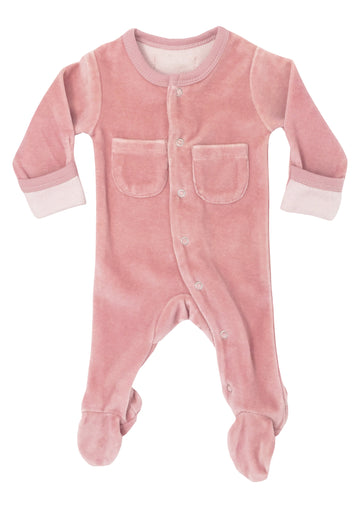 L'ovedbaby Organic Cotton Footie - Velour Mauve