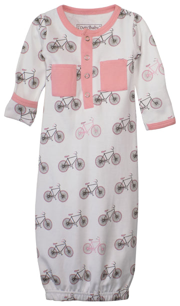 L'ovedbaby Organic Newborn Gown - Coral Bicycles