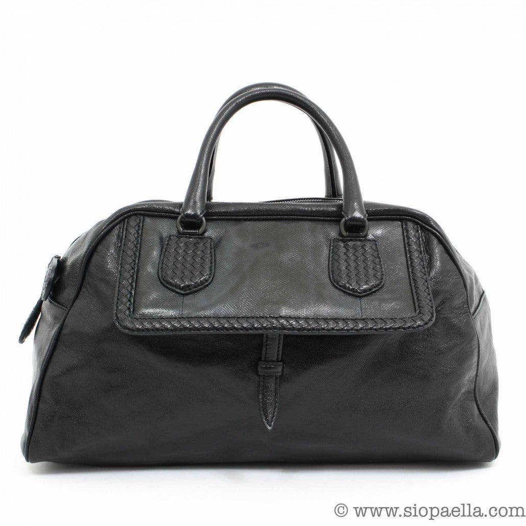 Bottega Veneta Black Leather Tote siopaella designer exchange dublin
