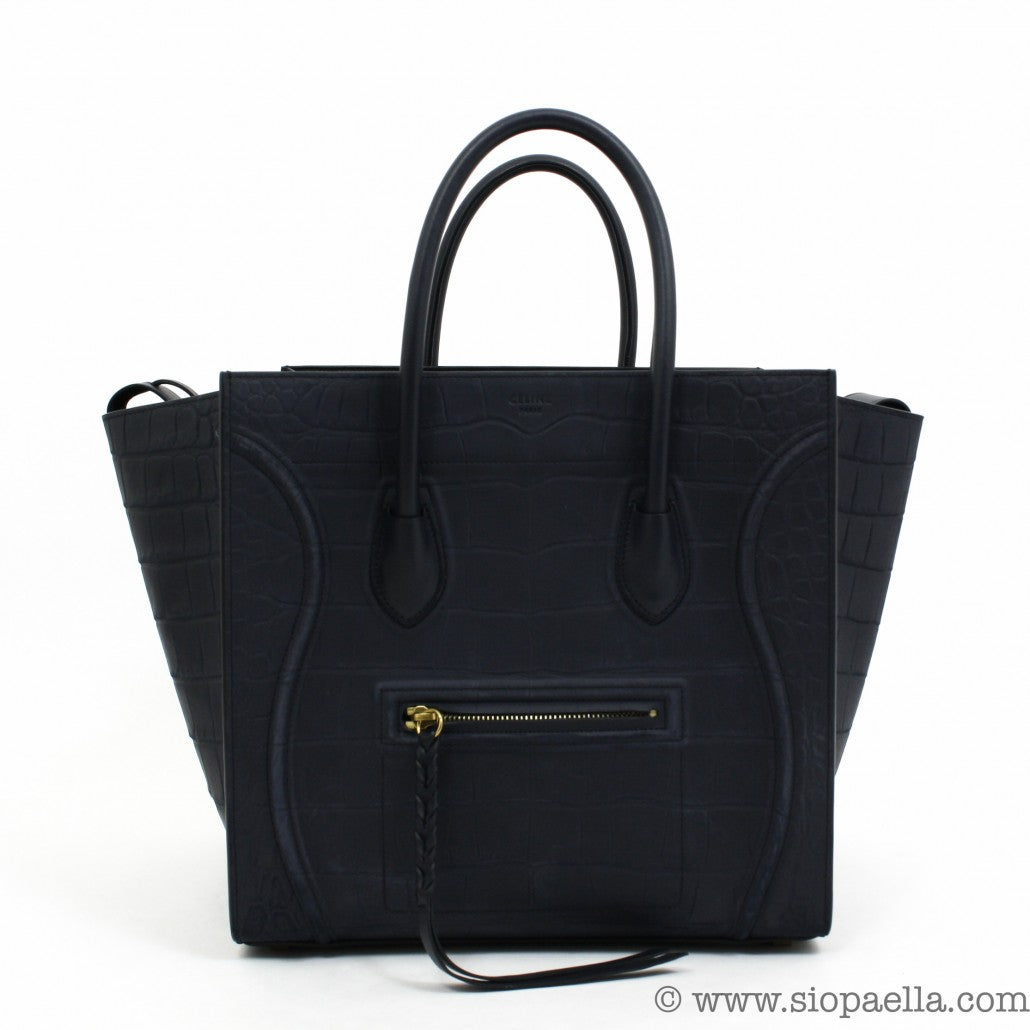 celine designer sve3  Celine-Croc-Embossed-Leather-Medium-Phantom-Tote-Siopaella