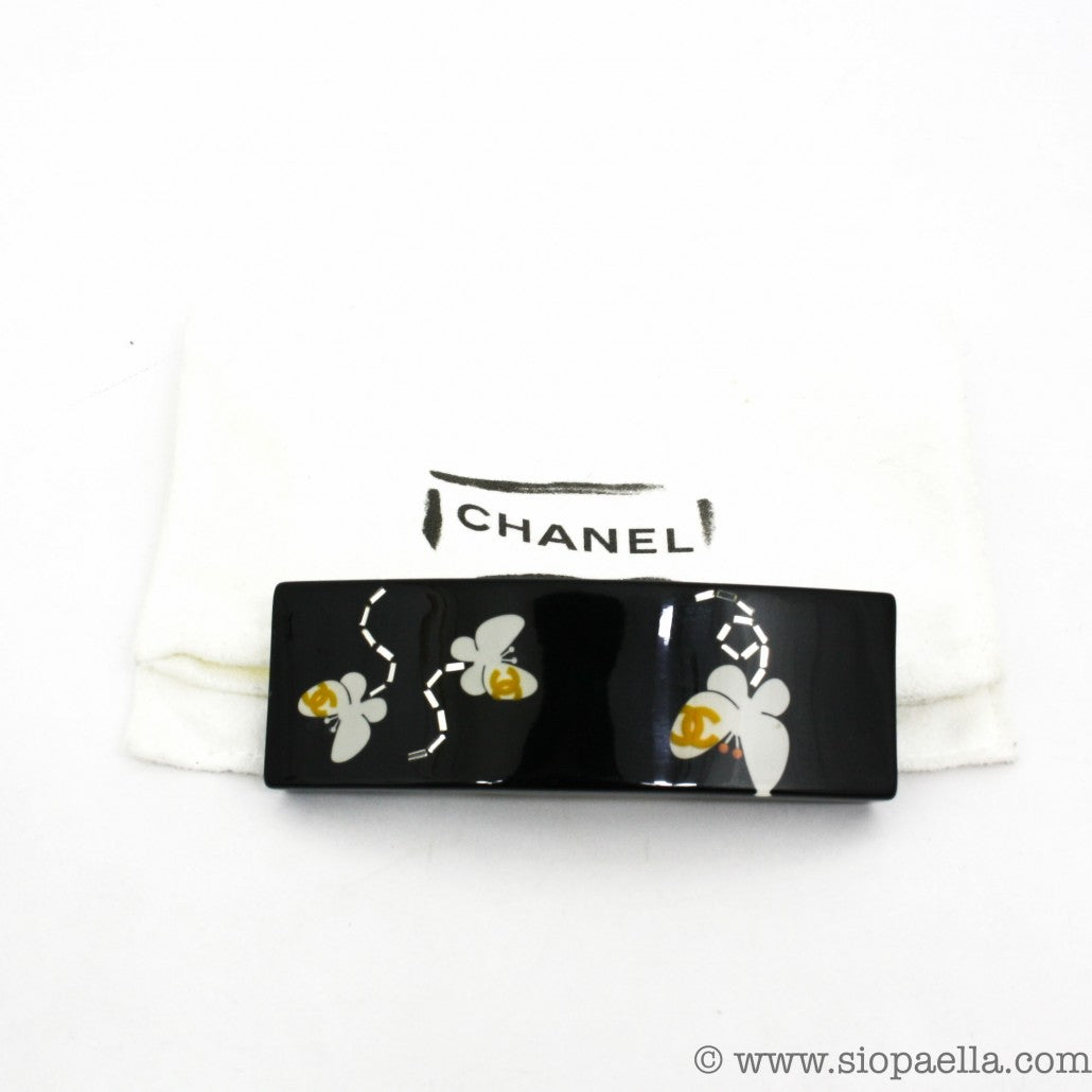 Chanel-Black-Floral-Hairclip-Siopaella-Designer-Exchange-1