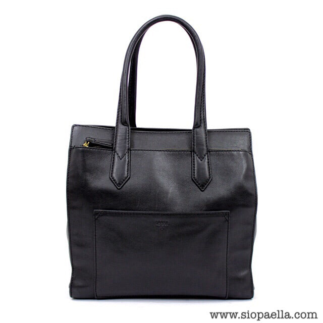 Fossil Black Leather Tote