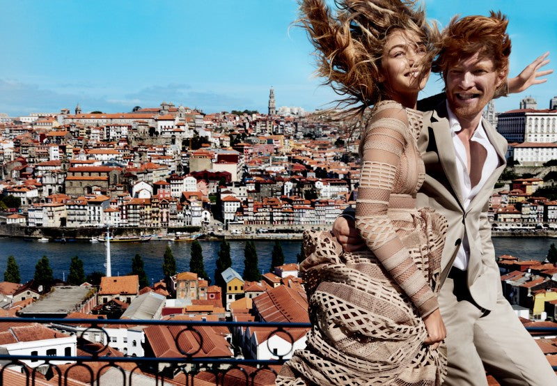 Gigi Hadid and Domhnall Gleeson in US Vogue