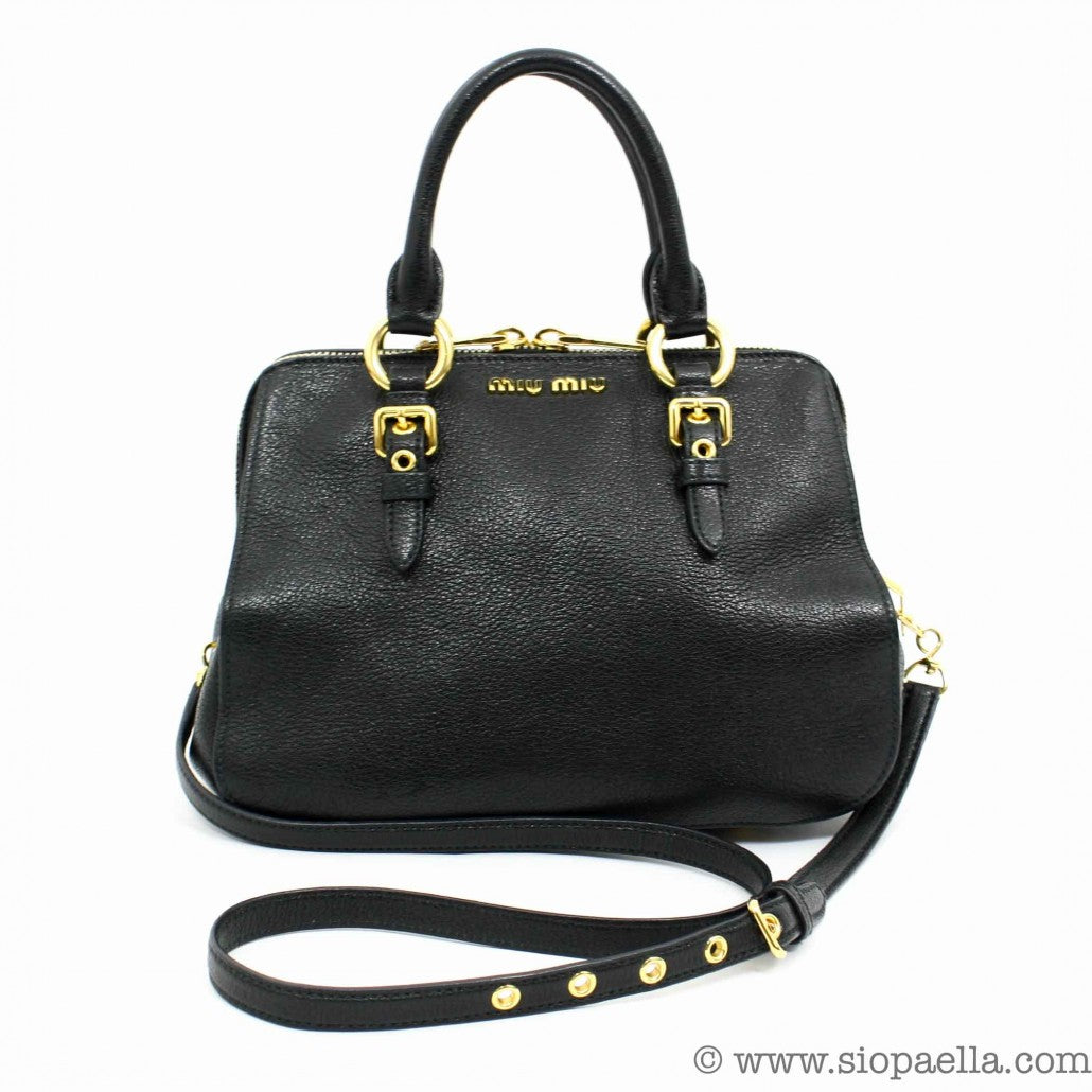 Miu Miu Black Leather Madras Doctor Bag Siopaella Designer Exchange