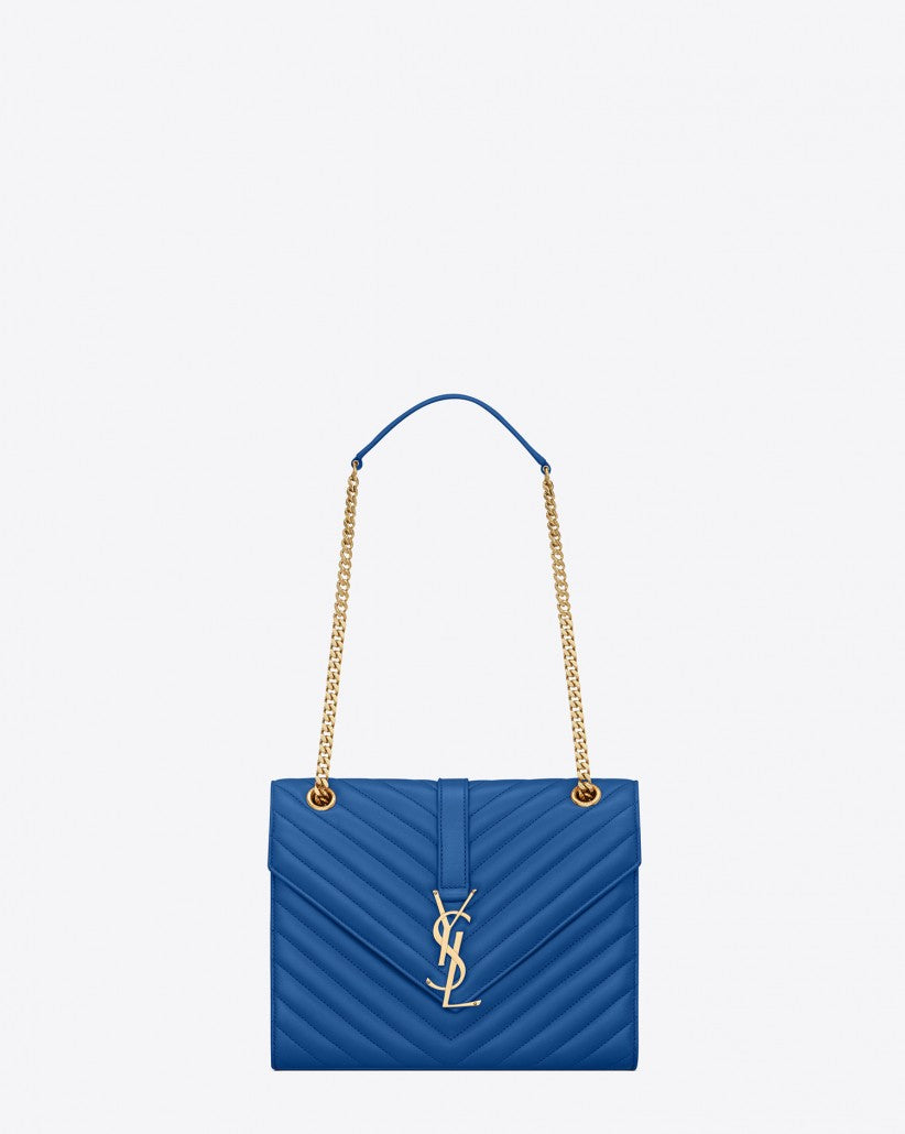 SAINT LAURENT CLASSIC MEDIUM MONOGRAM SAINT LAURENT SATCHEL IN ROYAL BLUE MATELASSÉ LEATHER- Siopaella designer exchange