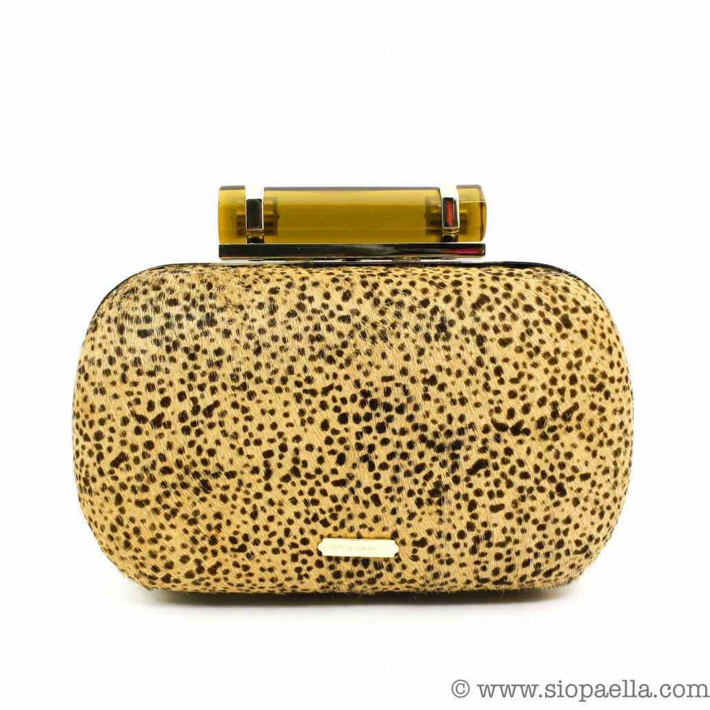 VINCE CAMUTO CHEETAH BOX CLUTCH BAG SIOPAELLA DESIGNER EXCHANGE