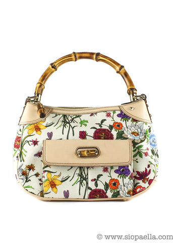 Gucci Bamboo Floral Shoulder Bag - Siopaella Designer Exchange