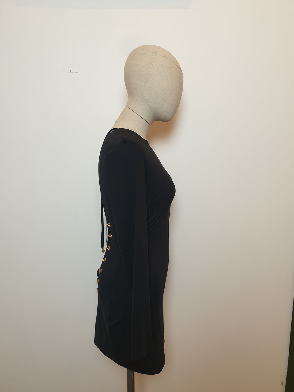 House Of London Elasticated Fitted Backless Little Black Dress Size Small - Siopaella Designer Exchange