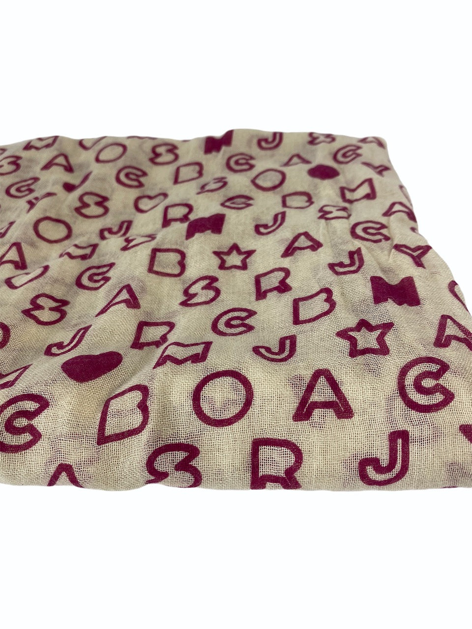 Marc Jacobs Cream Monogram Scarf - As Seen On Instagram 06/09/2020