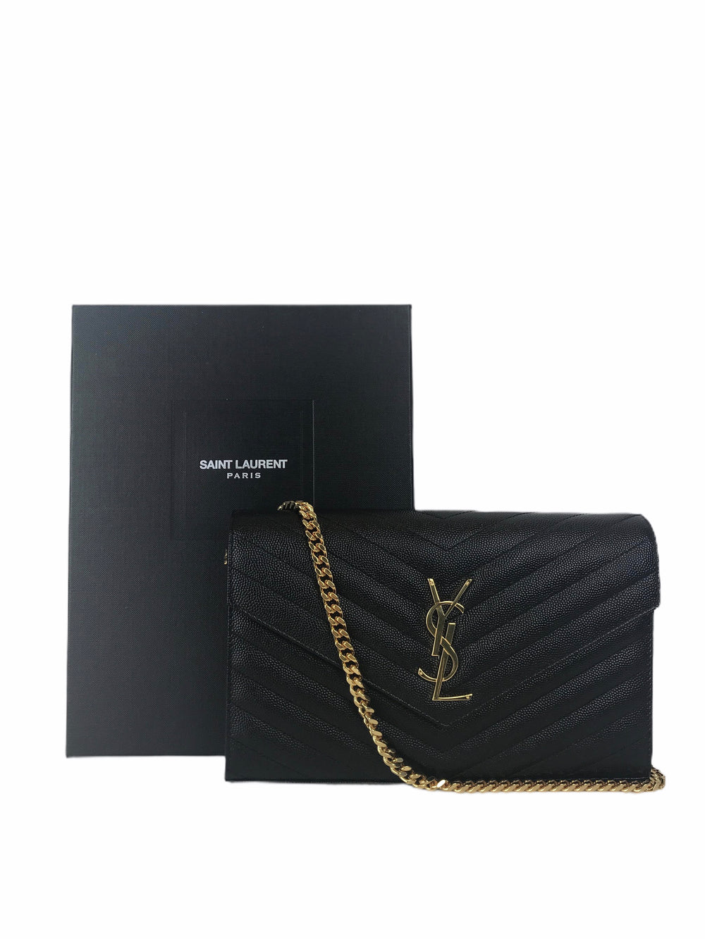 Saint Laurent Black Chevron Leather Wallet on Chain - As Seen on Instagram 16/08/2020