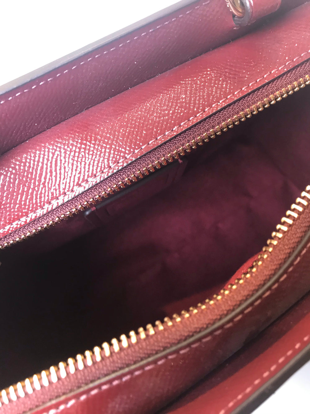Coach Burgundy Monogram Canvas & Leather Tote