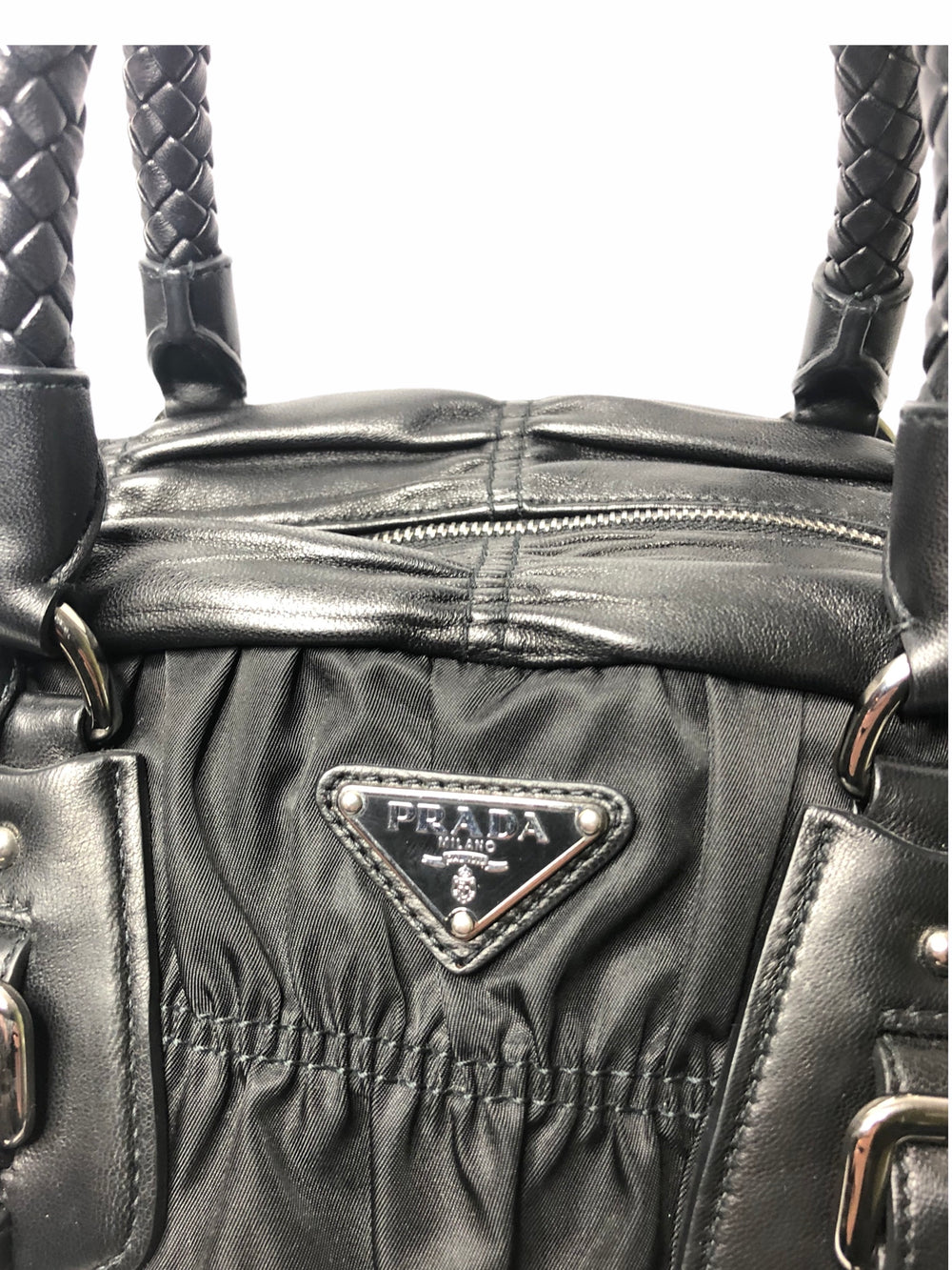 Prada Black Ruched Leather & Nylon Tote - As Seen on Instagram