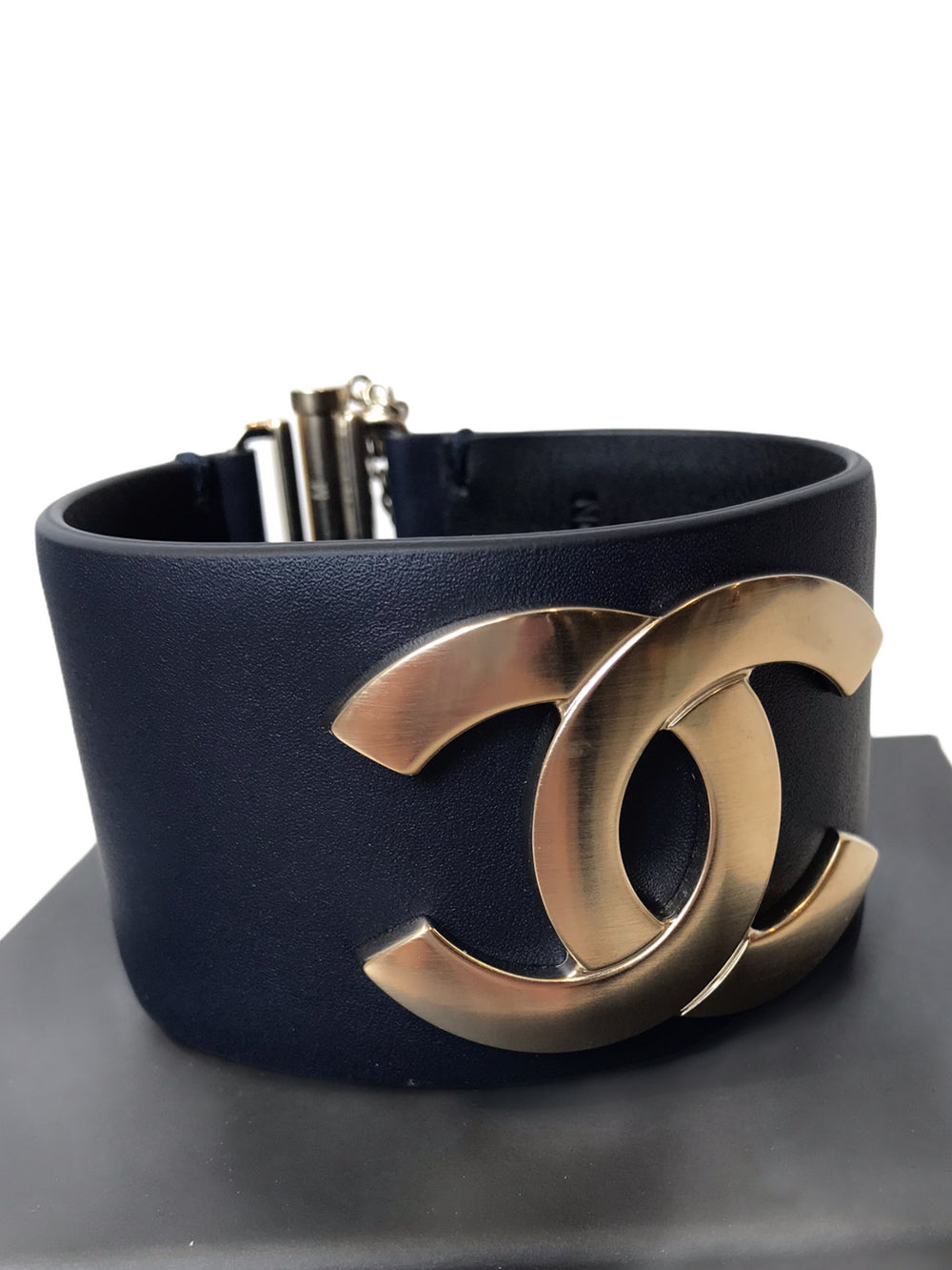 "Chanel Navy ""CC"" Bangle Bracelet - As Seen on Instagram"