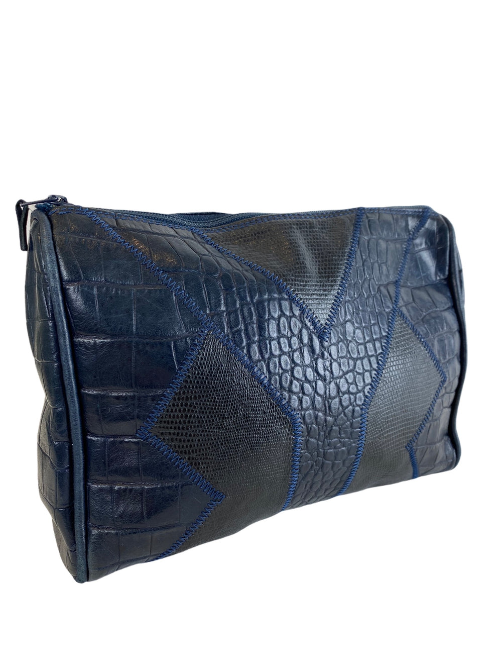 Yves Saint Laurent Blue Croc Effect Clutch - As Seen on Instagram 21/10/2020