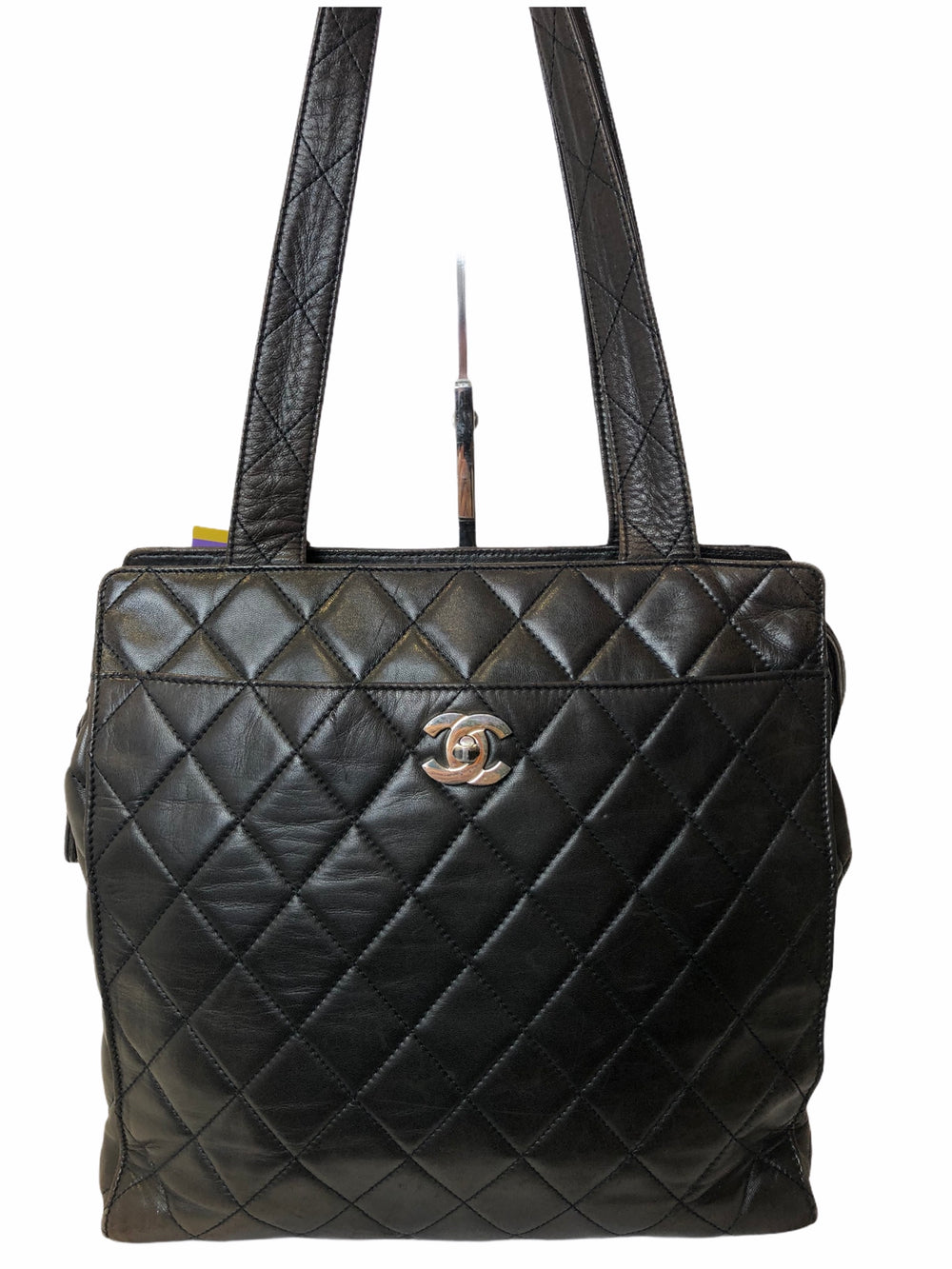 Chanel Vintage Chocolate Brown Lambskin Leather Tote with Silvertone Hardware