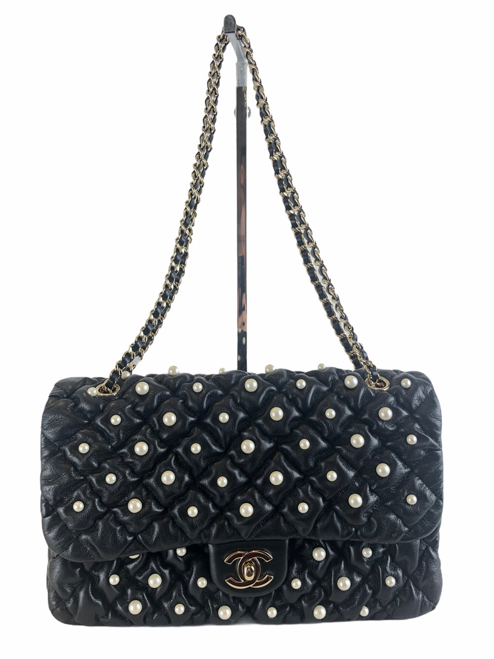 Chanel Black Lambskin Crossbody with Pearl Detailing