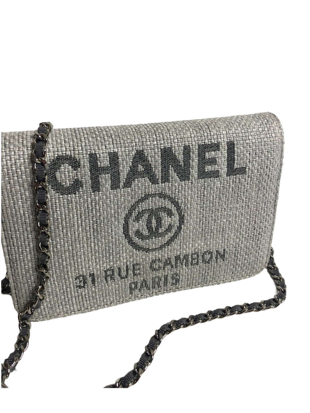 Chanel Cream/Grey Canvas Wallet on Chain - As Seen on Instagram 18/11/20