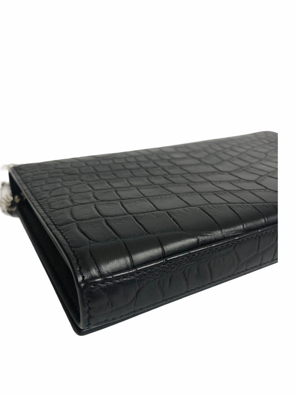 Saint Laurent Black Croc Embossed Leather Wallet on Chain - As Seen on Instagram 18/11/20
