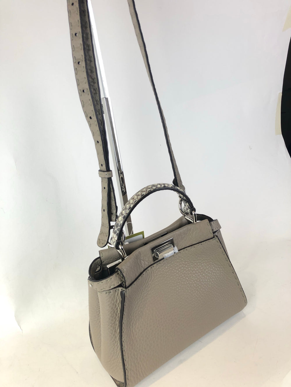 Fendi Taupe Leather & Snakeskin Mini