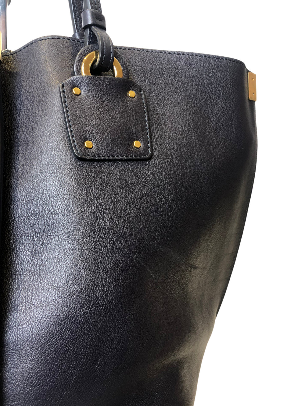 Chloé Navy Leather Logo Print Tote - As Seen on Instagram 10/1/21