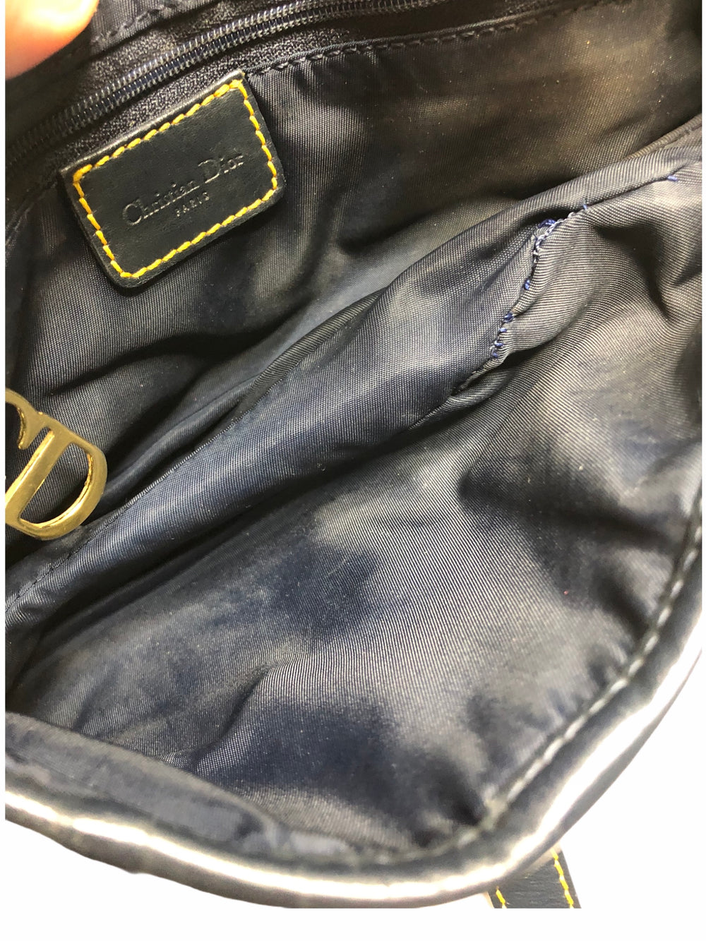 Christian Dior Navy Leather & Canvas Saddle Bag  - As Seen on Instagram 4/11/2020