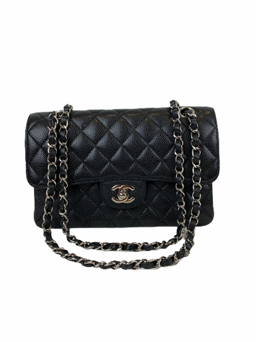 Chanel Small Black Caviar Leather Double Flap