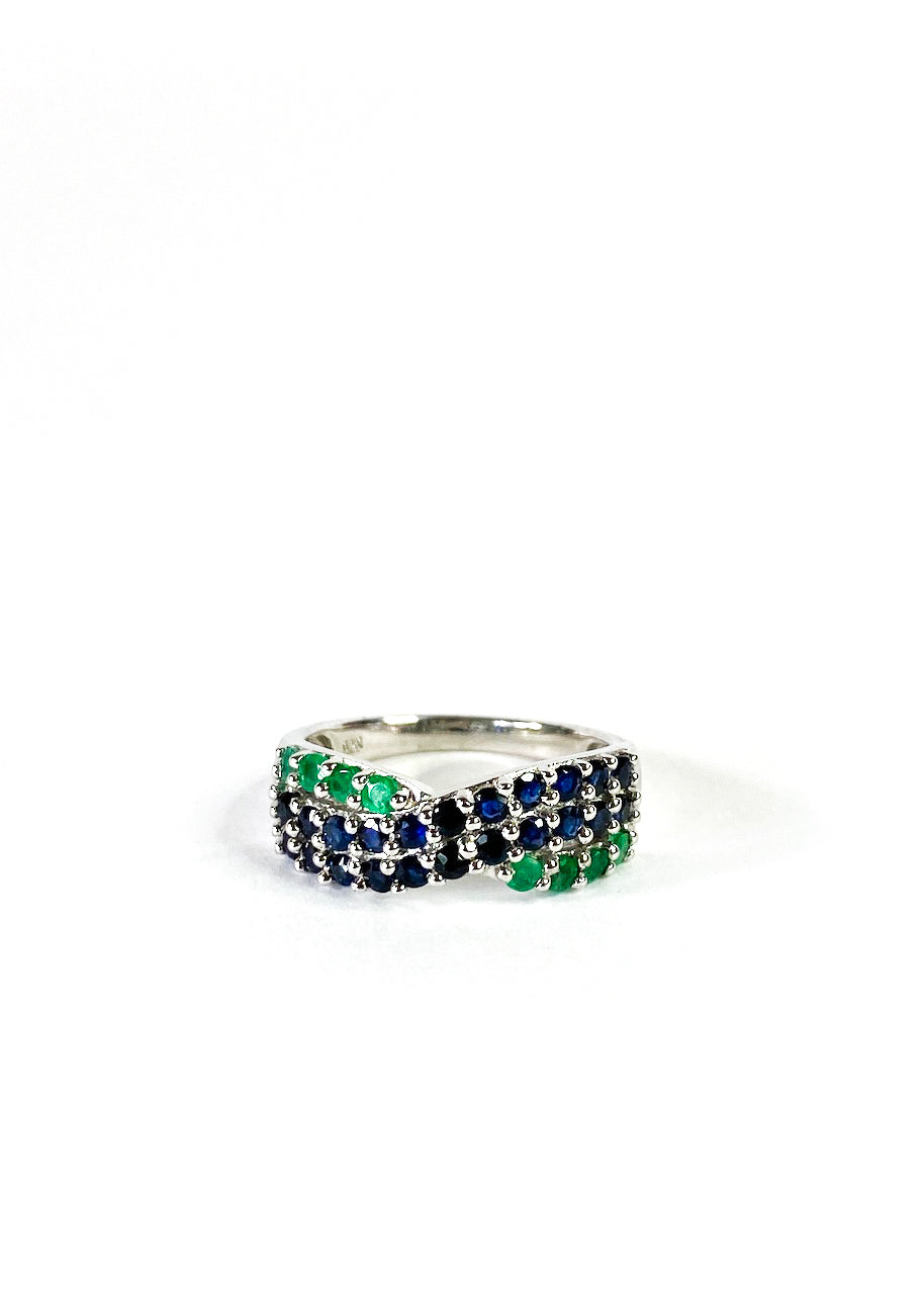 Silver Sapphire & Emerald Ring - As Seen on Instagram - Siopaella Designer Exchange