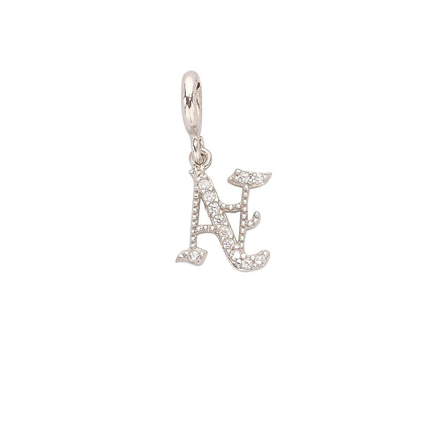 Old English CZ Uppercase Initial Charm