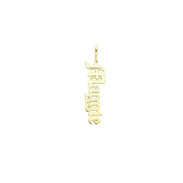 Old English Vertical Name Charm
