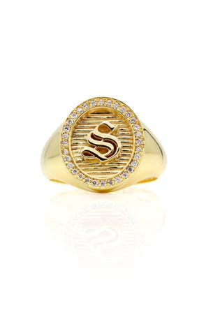 Pavé Goddess Initial Ring