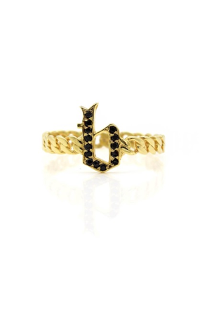 Black Stone Initial Curb Ring