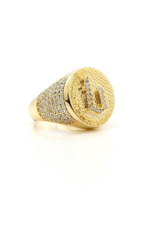 Pavé Medieval Initial Ring