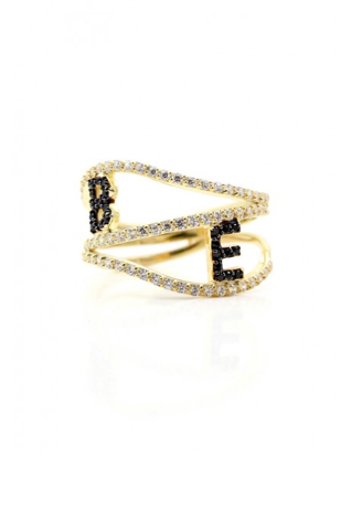 Black Stone Double Initial Ring