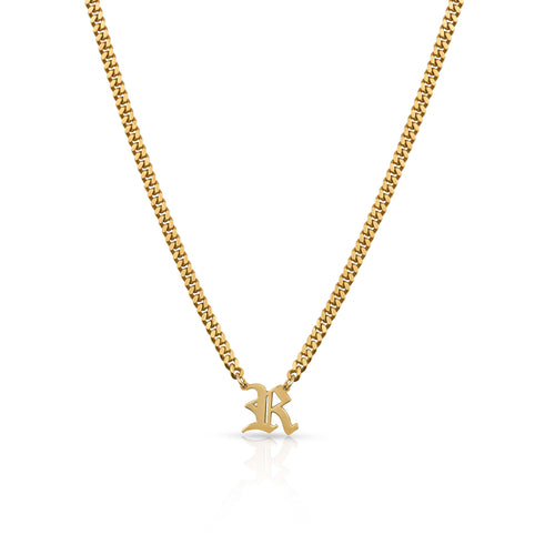 Old English Single Initial Necklace