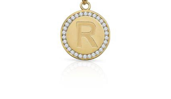 CZ Studded Circle Initial Charm