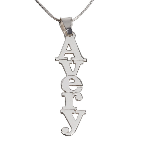 VERTICAL PRINT NAME NECKLACE