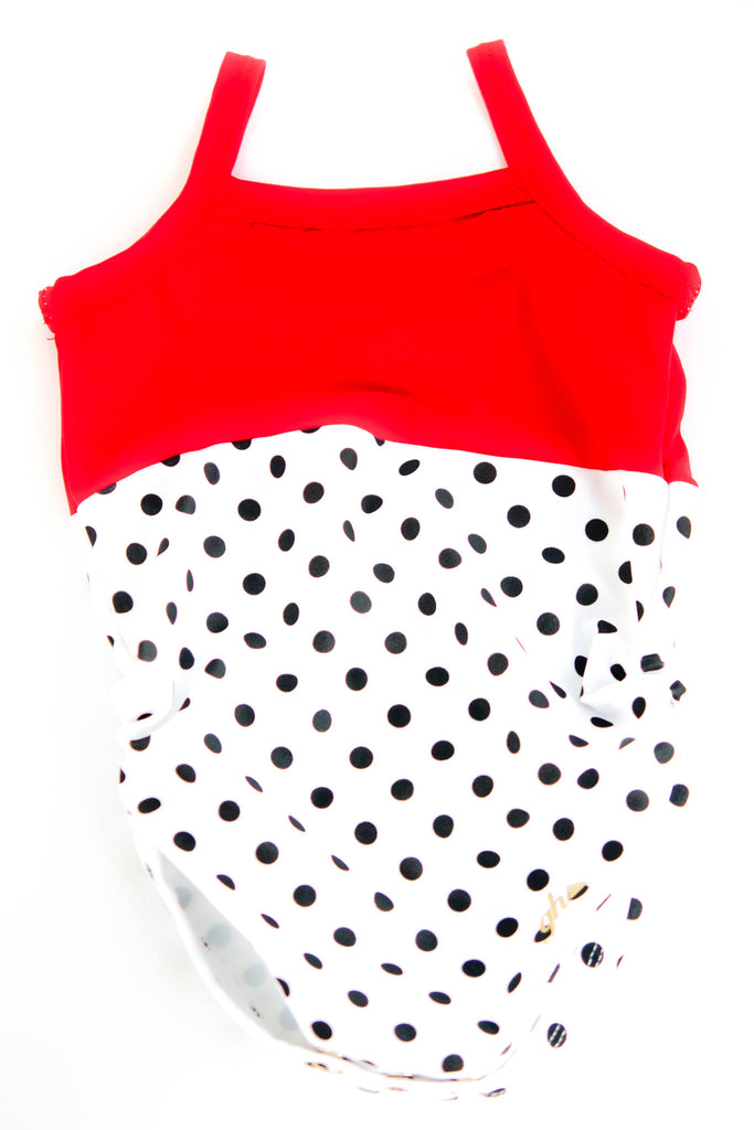 Hot Red with Black & White Polkadots