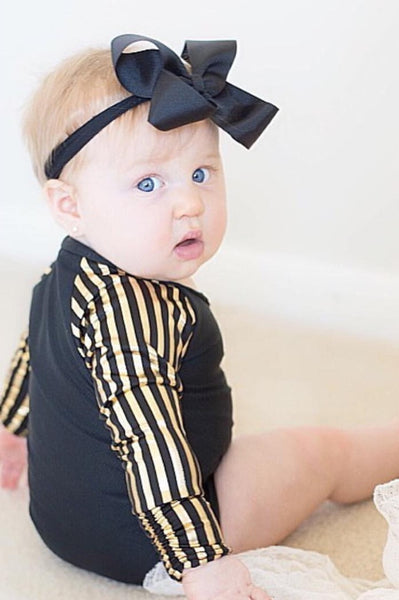 Black with Black & Gold Stripe Raglan sleeves