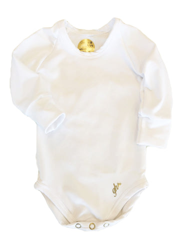 Pure White UNISEX Long Sleeve bodysuit