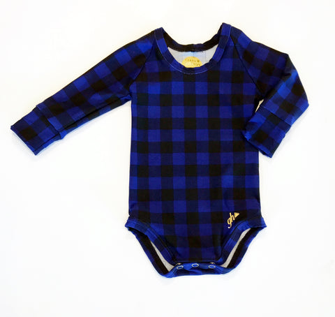 Black and Blue Check UNISEX Long Sleeve bodysuit