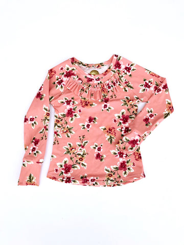 Peach Floral Long Sleeve Shirt with RUFFLE