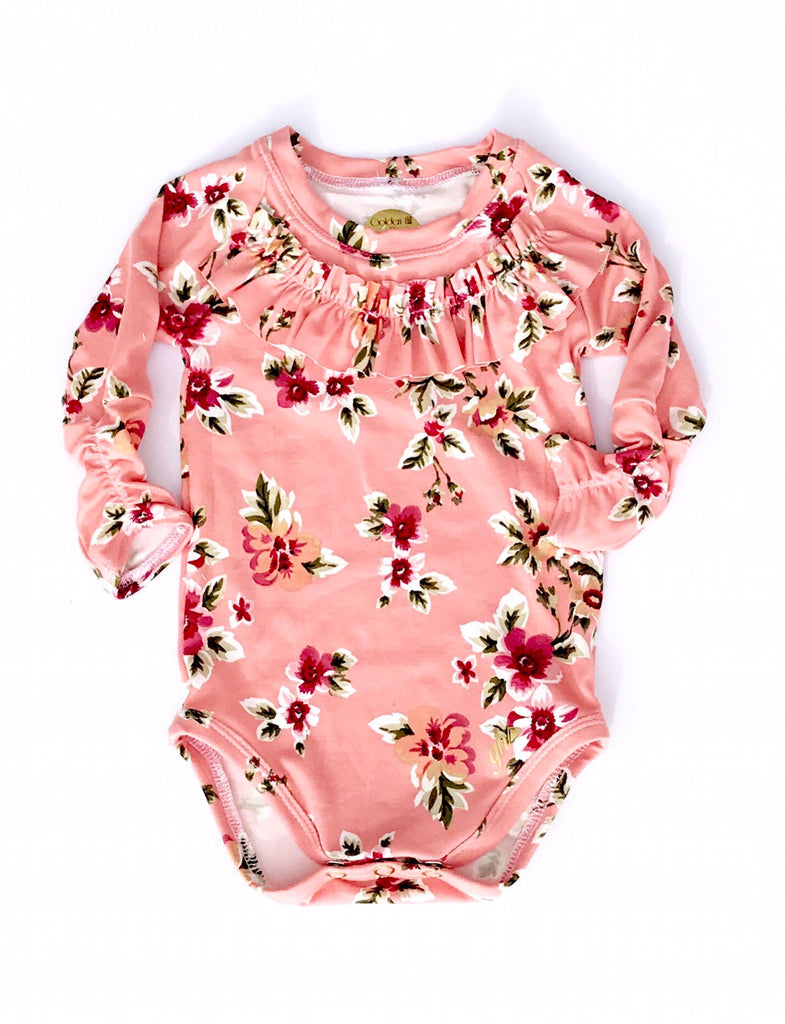 Peach Floral Long Sleeve bodysuit with RUFFLE