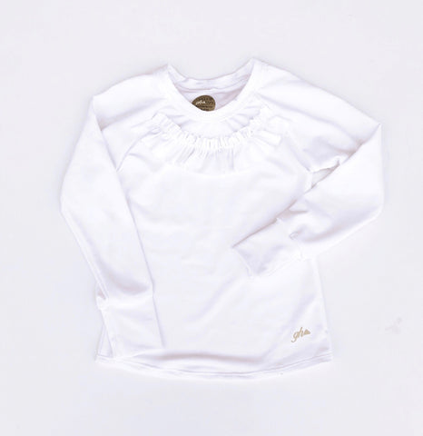 Pure White Long Sleeve Shirt with RUFFLE
