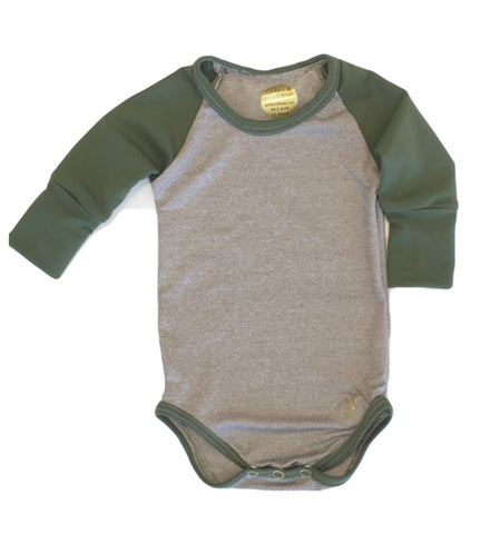 Urban Brown and Army Green UNISEX Long Sleeve bodysuit