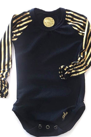Black with Black & Gold Stripe Raglan RUCHED