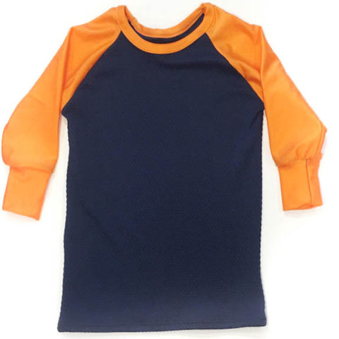 Navy and Orange Long Sleeve Raglan
