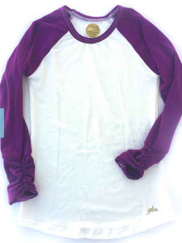 Ivory and Plum Long Sleeve Raglan