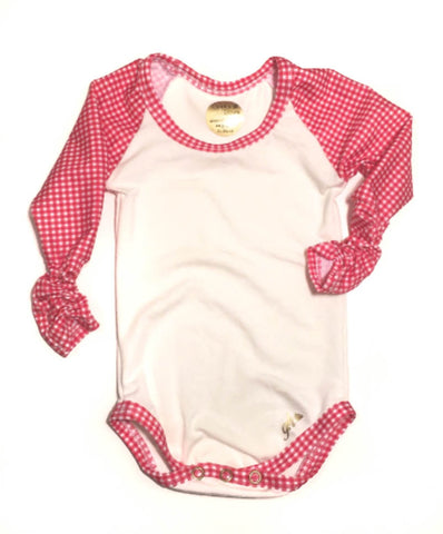 Ivory and Red Gingham Raglan