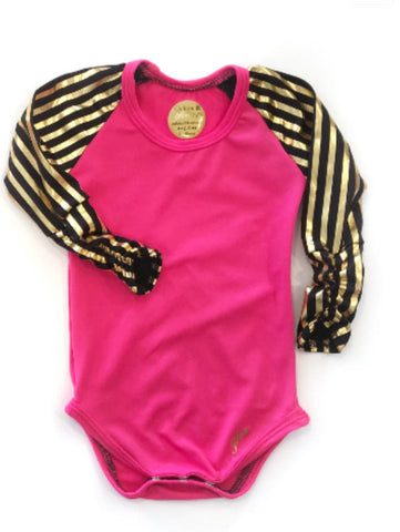 Hot Pink with Black and Gold Stripe Raglan RUCHED